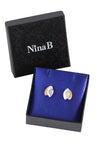 Gold plated double leaf stud earrings