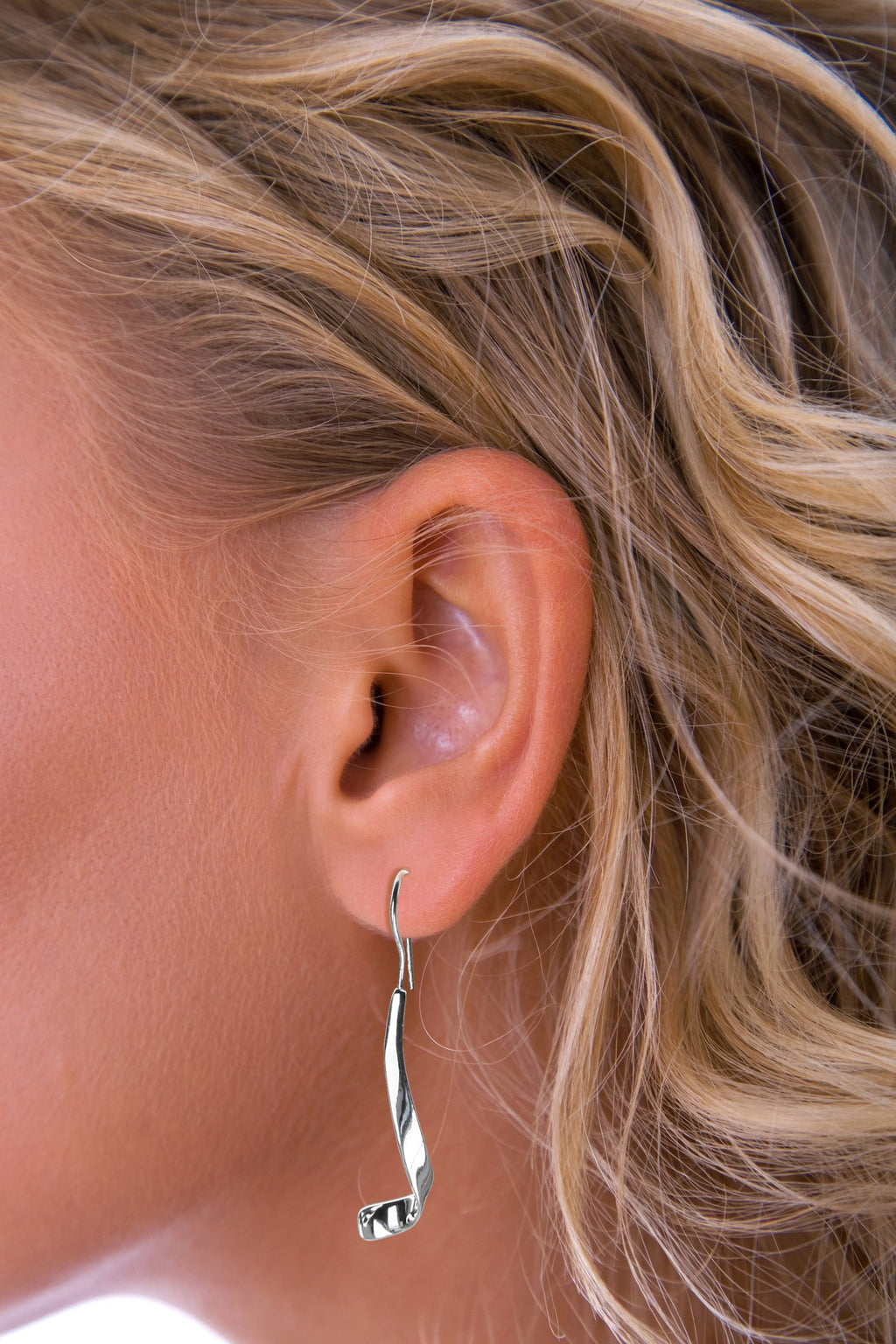 Silver long curl earrings