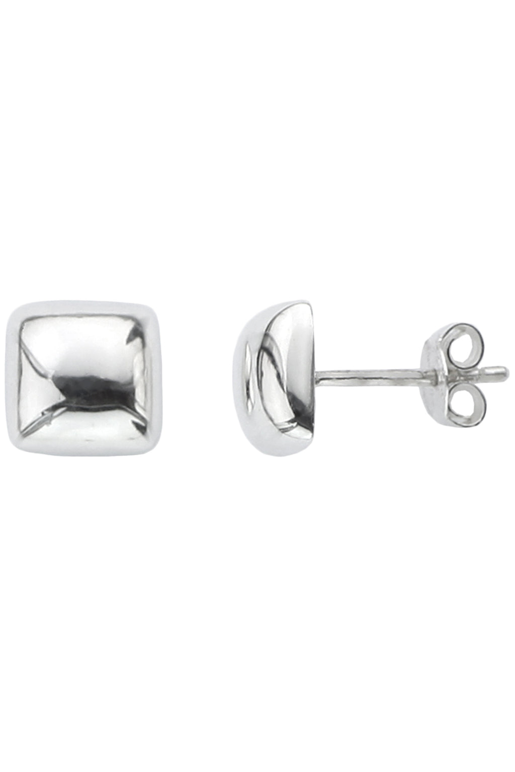 Silver Square Cushion Stud Earrings | Nina B Jewellery