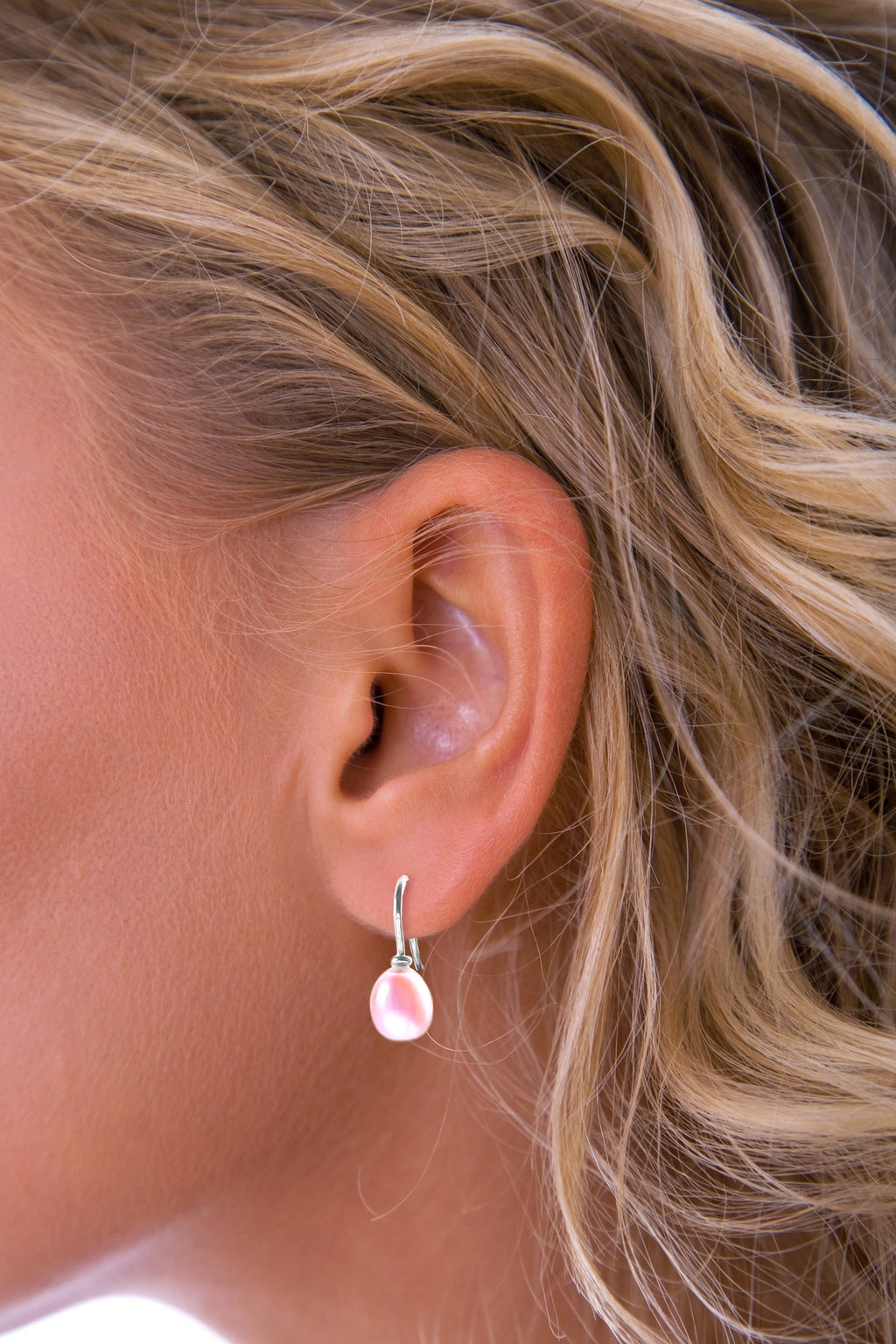 Pink Freshwater Pearl Silver Drop Earrings