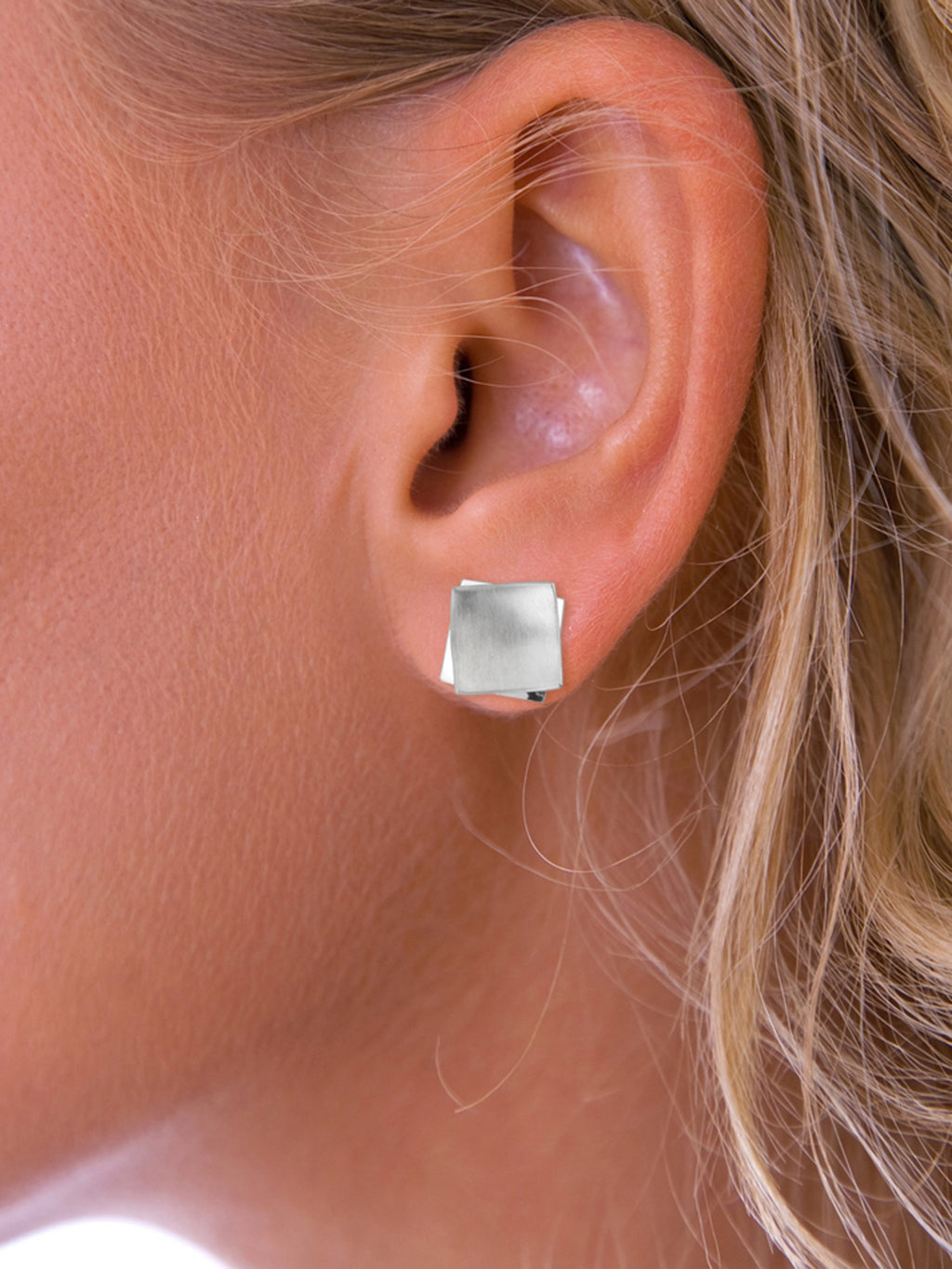 Brushed Silver Square Stud Earrings