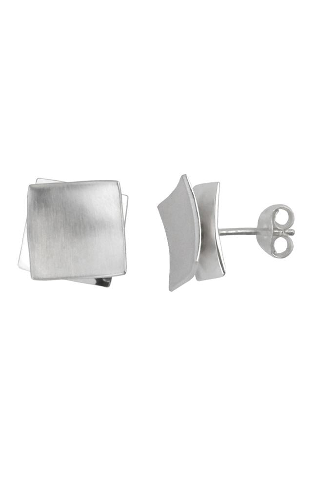 Silver double square stud earrings / Nina B Jewellery
