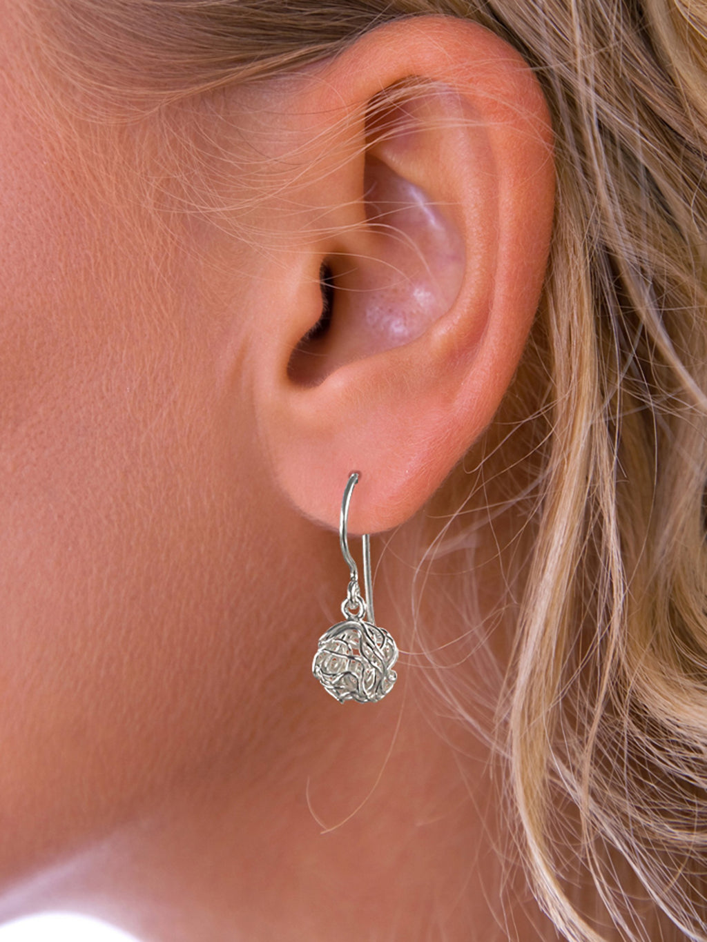 Silver Round Nest Drop Earring