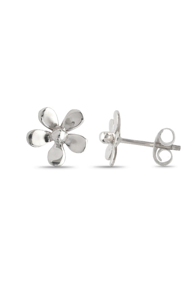 Polished Silver Flower stud earrings