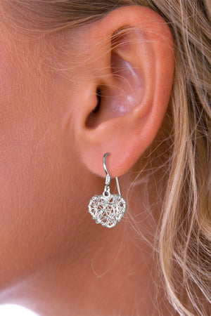 Silver Heart Nest Drop Earrings
