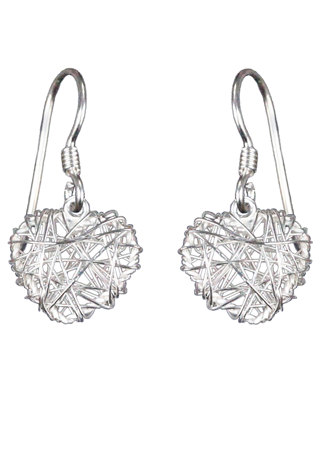 Silver heart nest drop earrings / Nina B Jewellery