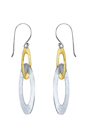 Silver & Gold plated linked loop drop earrings