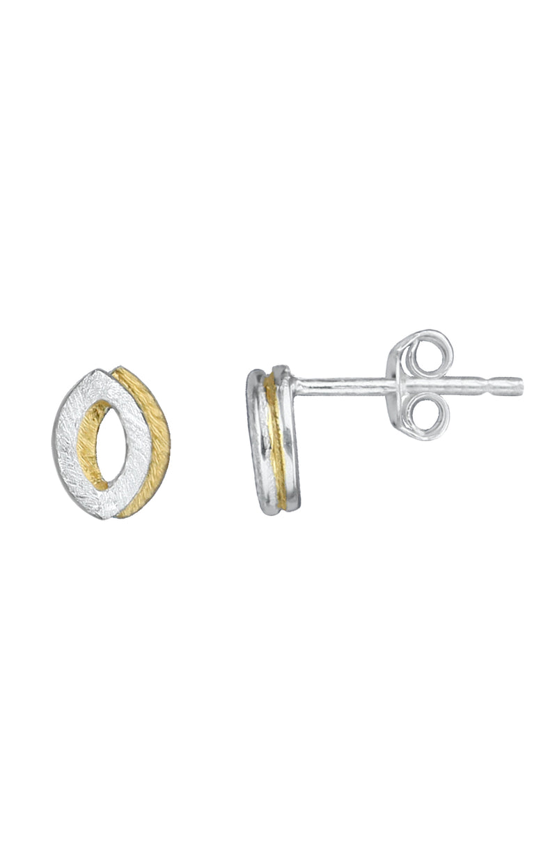 Brushed silver & gold plating stud earrings / Nina B Jewellery