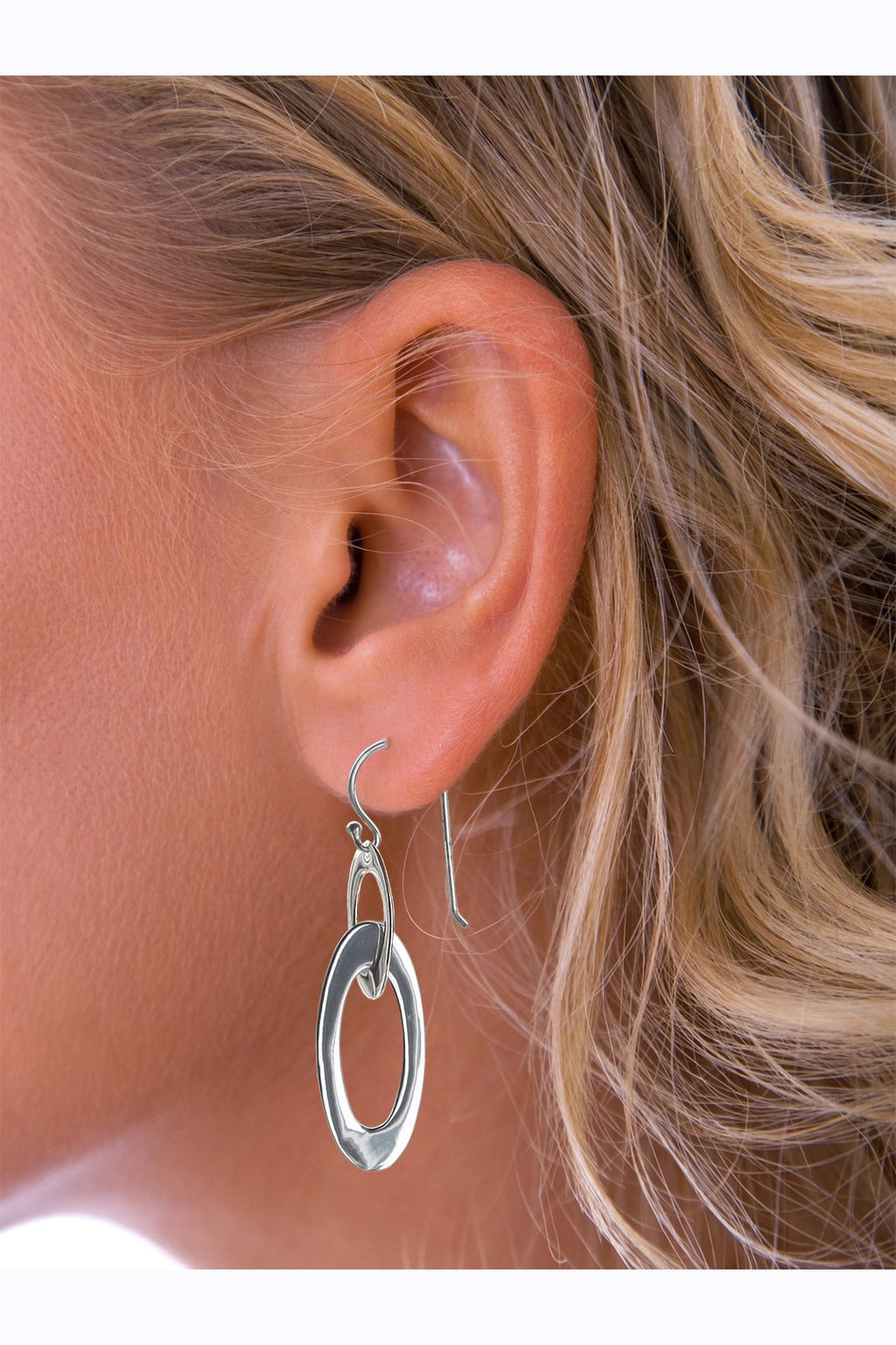 Silver linked loop drop earrings