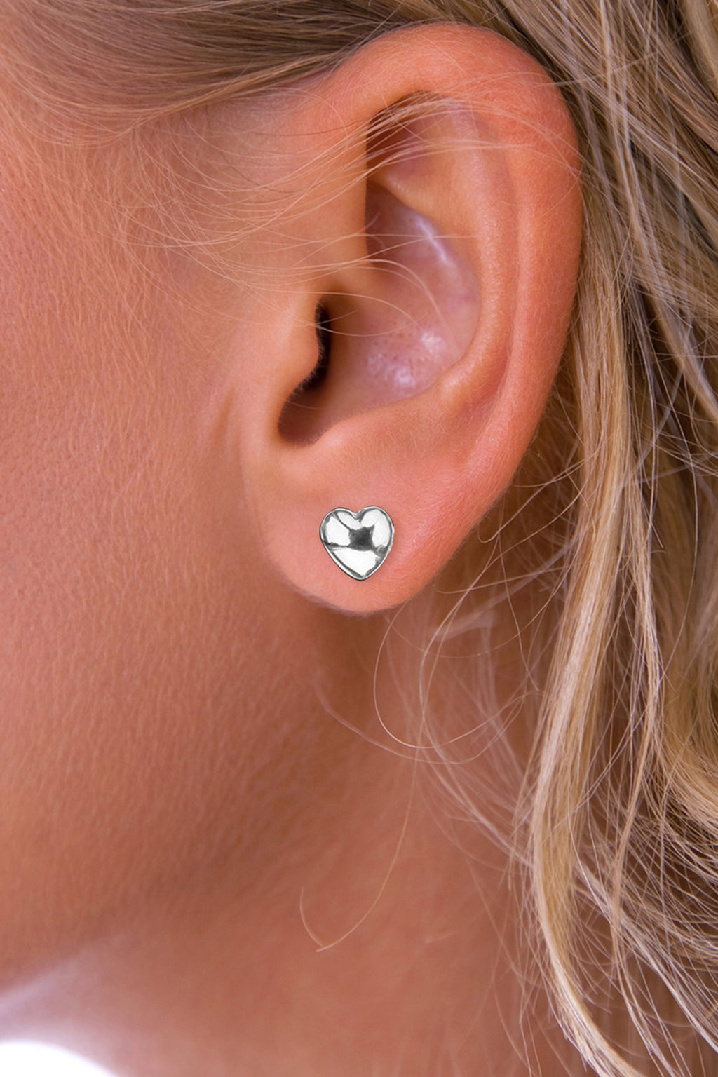 Silver Heart Solid Stud Earrings
