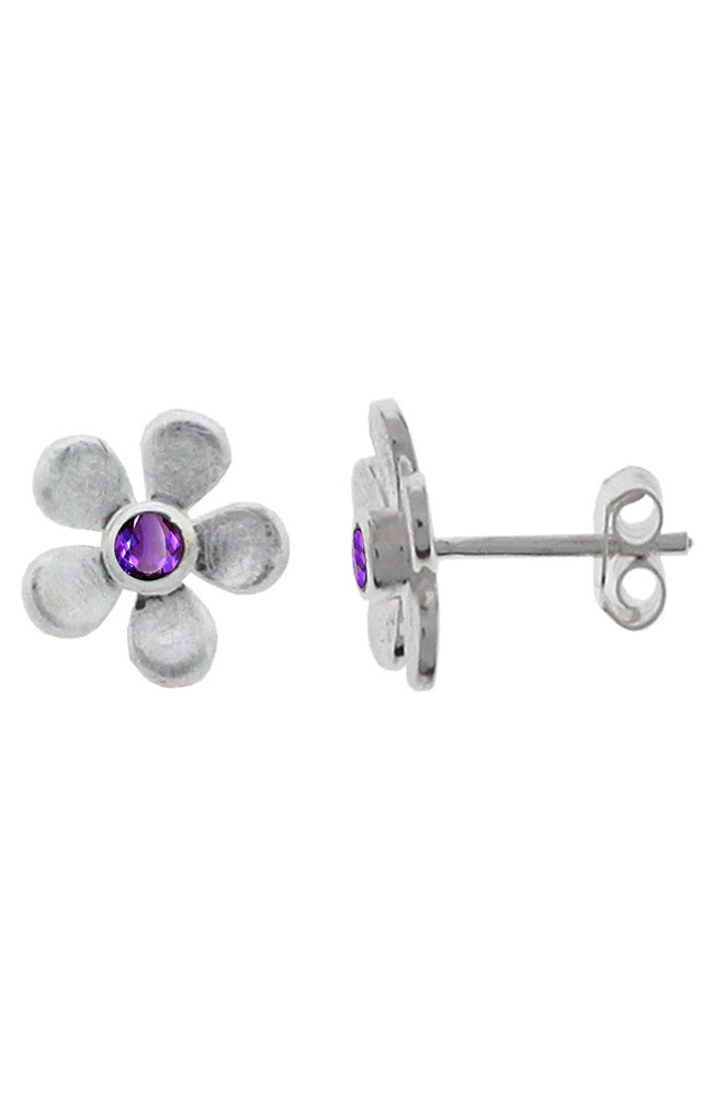 Silver Flower Amethyst stud earrings