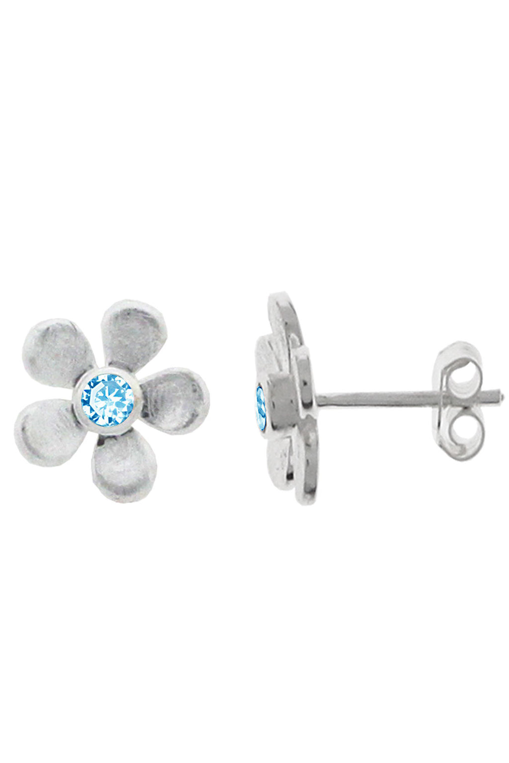 Silver Flower Blue Topaz stud earrings