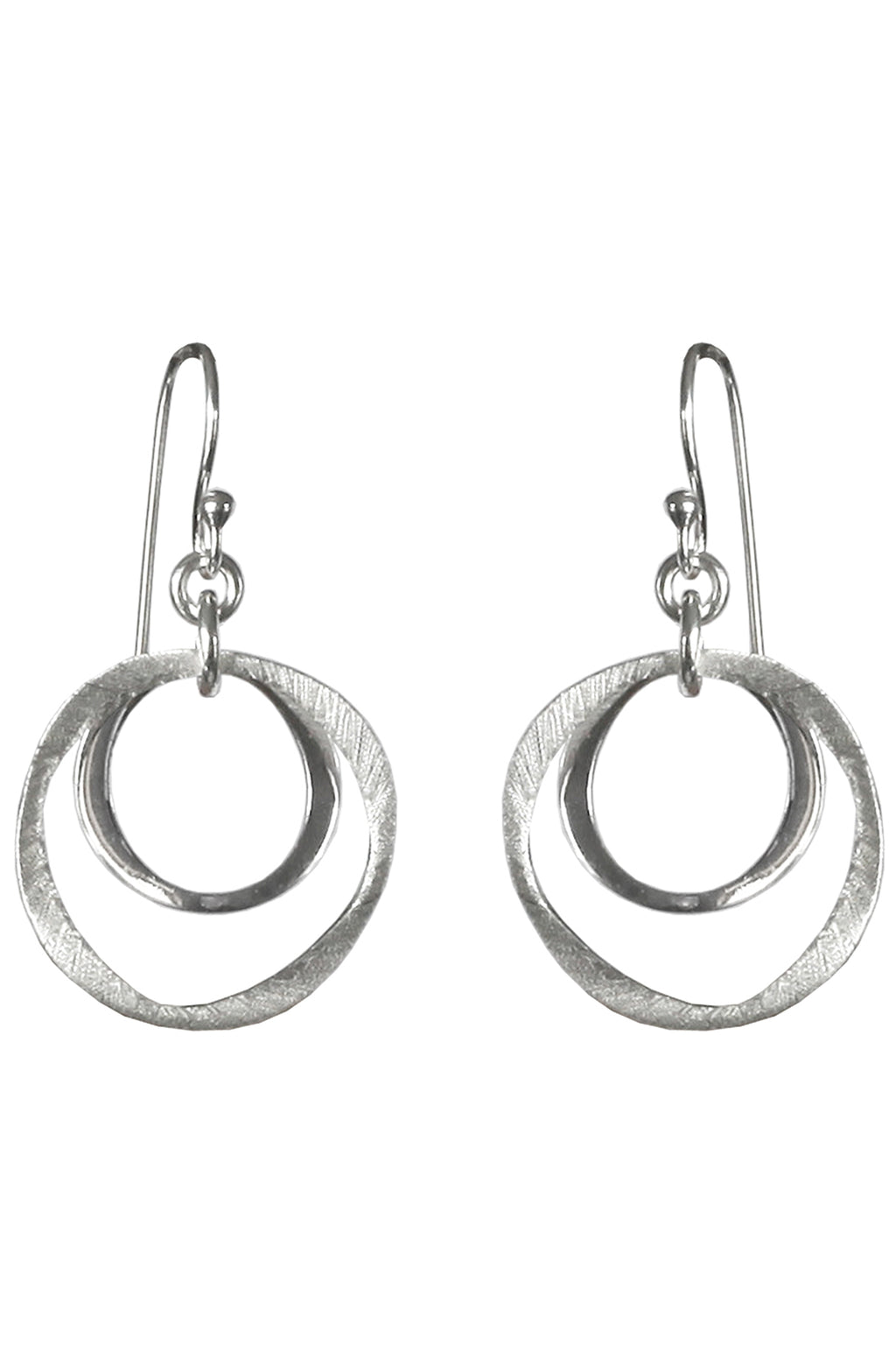 Crooked Circles Silver Earrings