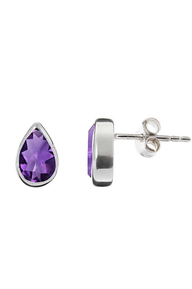 Silver Teardrop Amethyst Stud Earrings