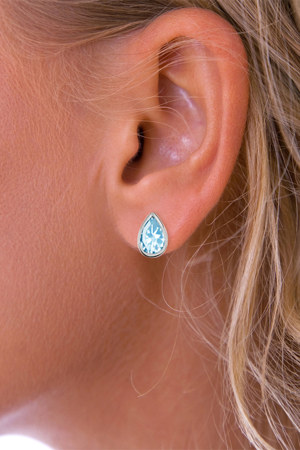 Silver Teardrop Blue Topaz Stud Earrings