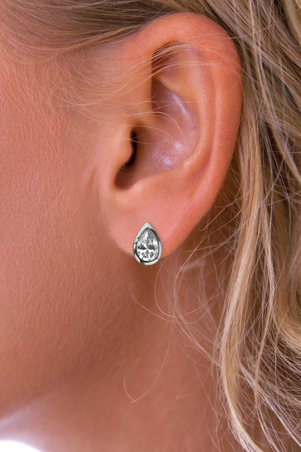 Silver Teardrop CZ Stud Earrings