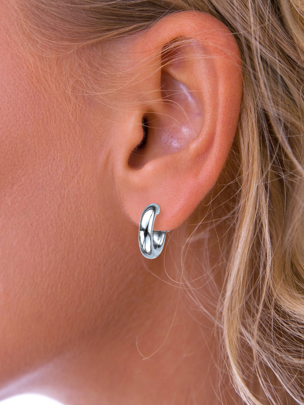 Silver small chunky hoop earrings