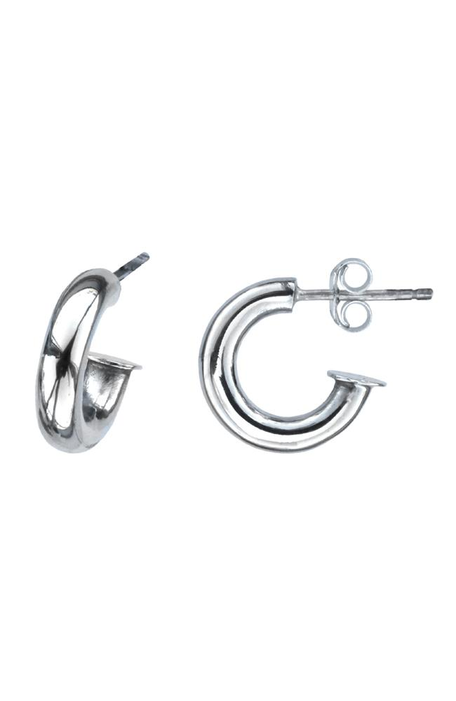 Silver small chunky hoop earrings / Nina B Jewellery