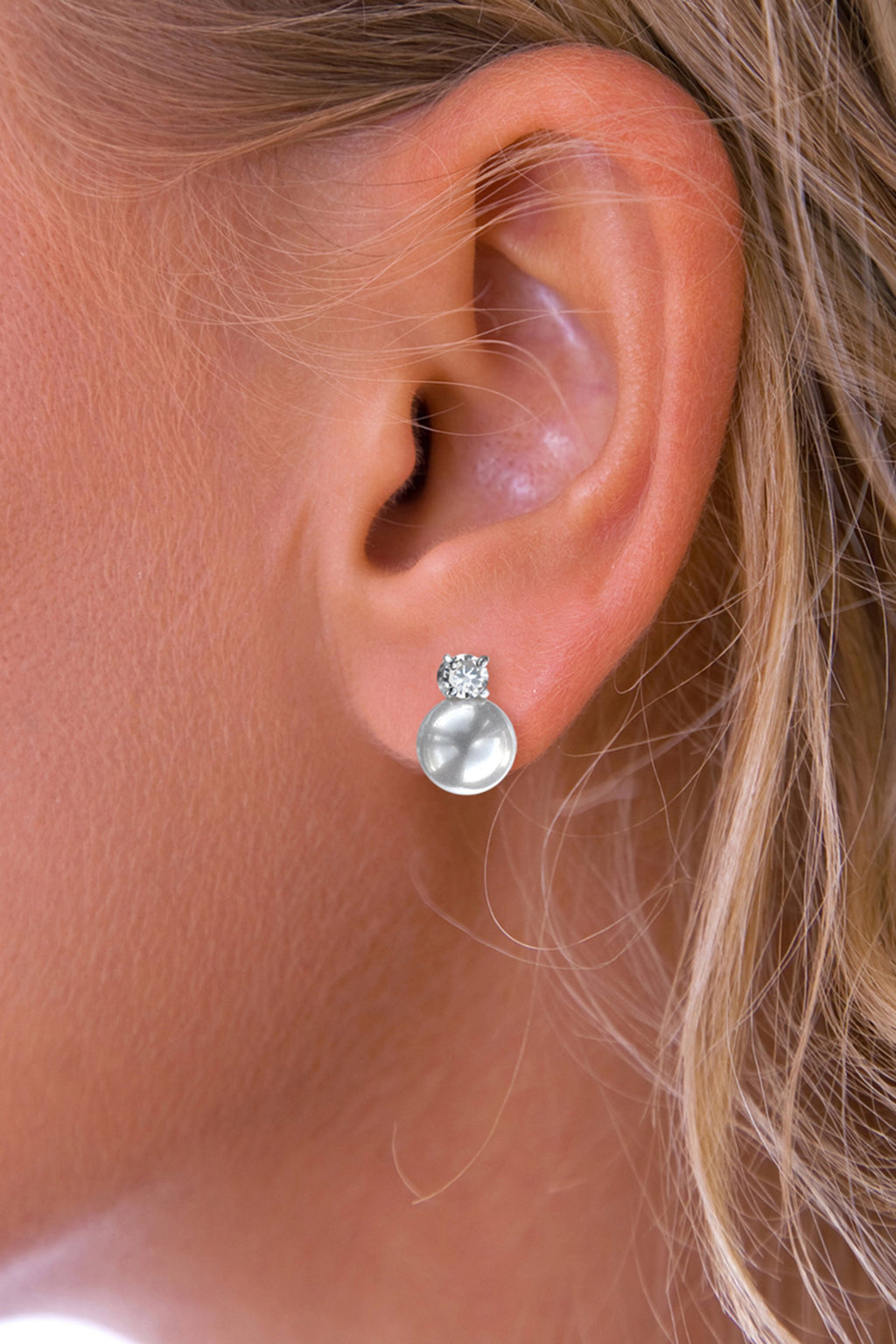 Silver Pearl Drop Earrings with CZ