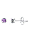 Silver Small Round Cubic Zirconia Stud Earrings