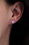 Silver Heart Amethyst Stud Earrings