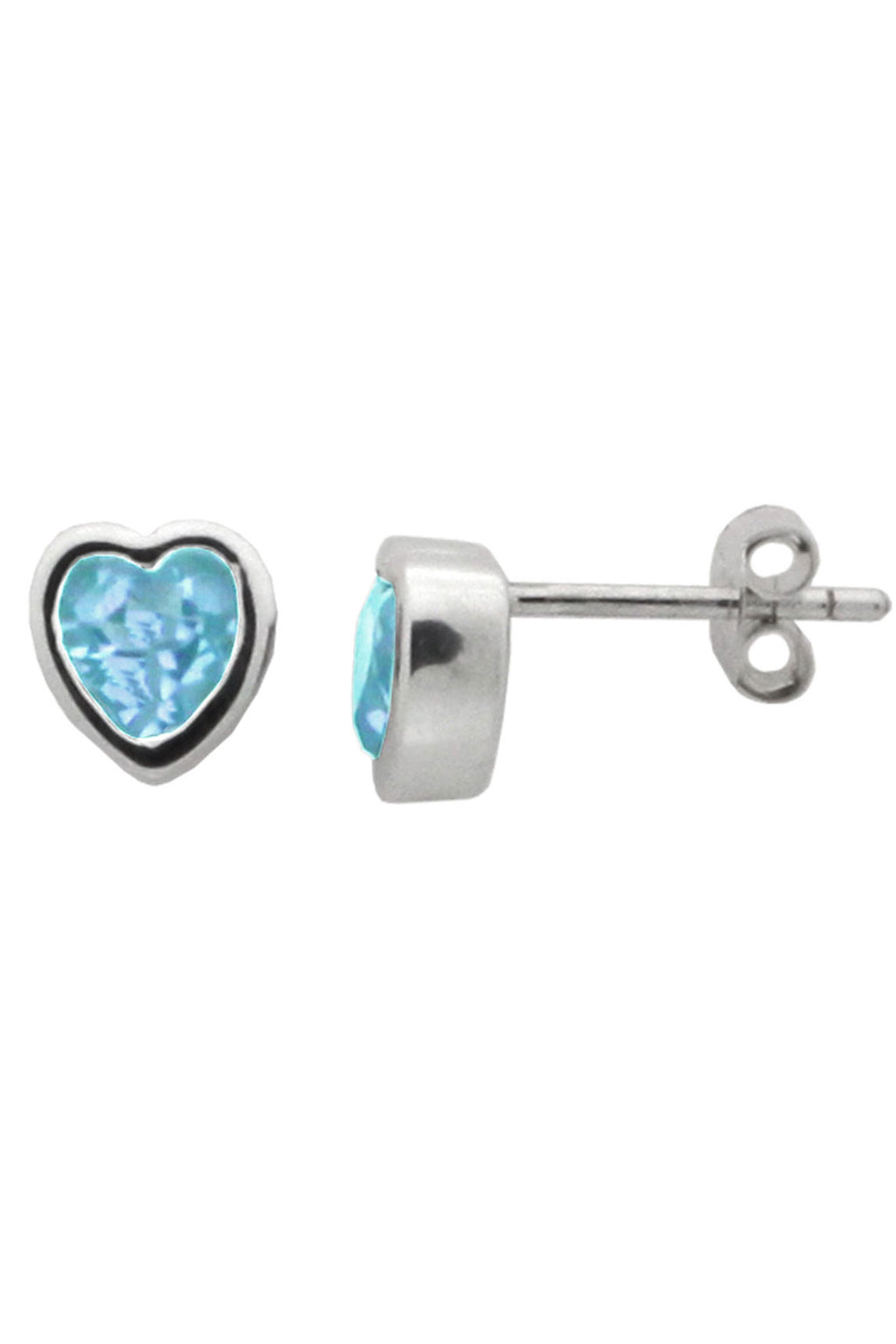 Silver Heart Blue Topaz Stud Earrings