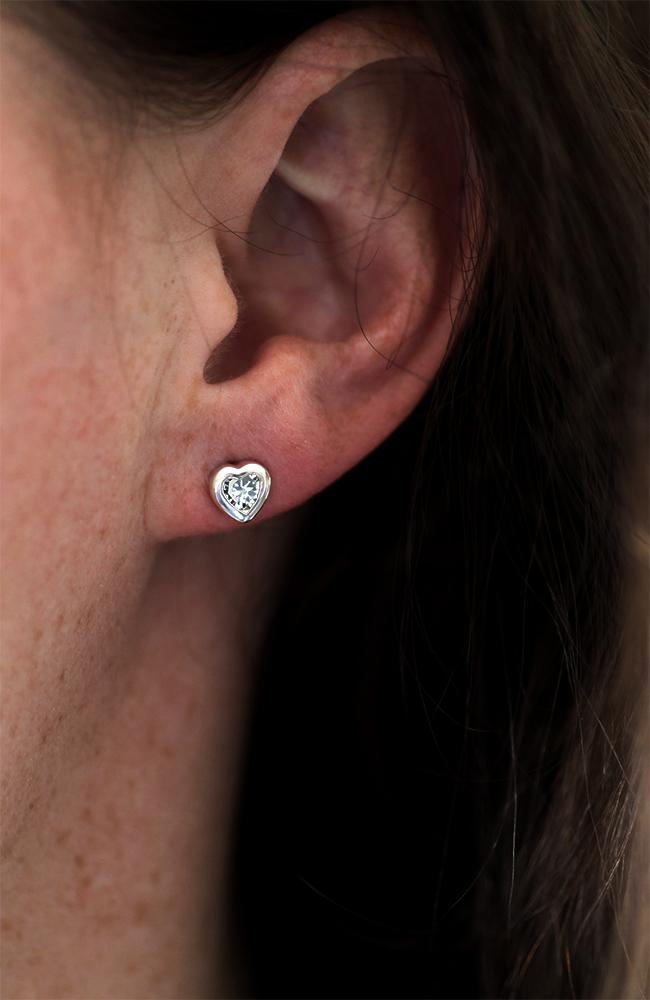 Silver Heart Cubic Zirconia Stud Earrings