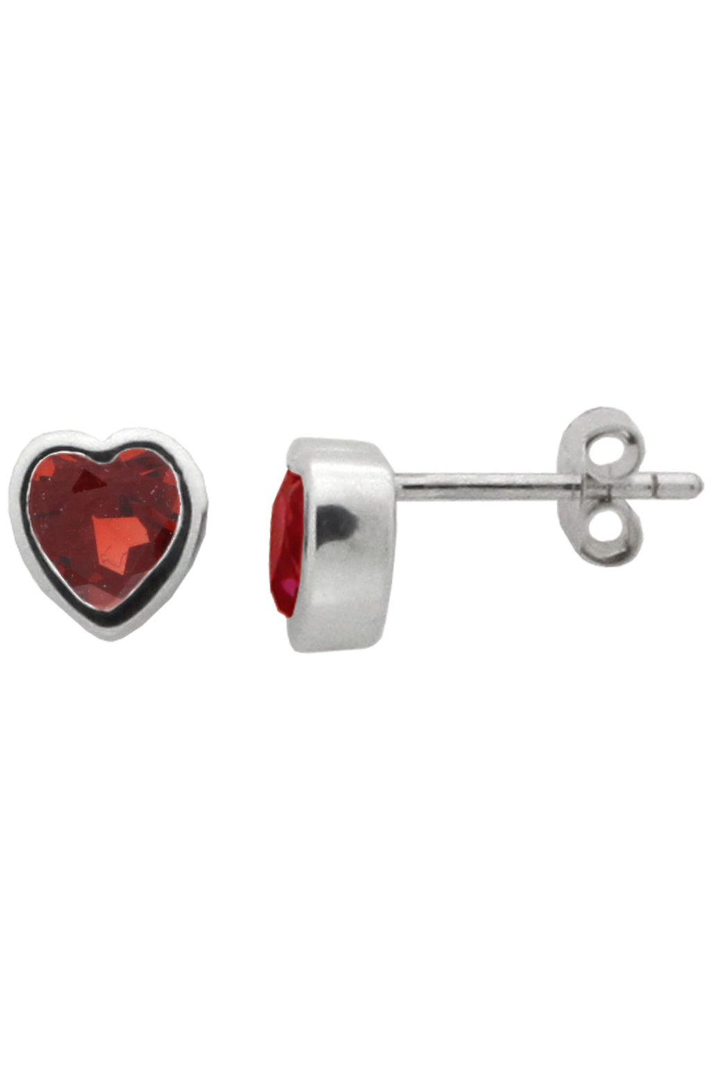 Silver Heart Garnet Stud Earrings