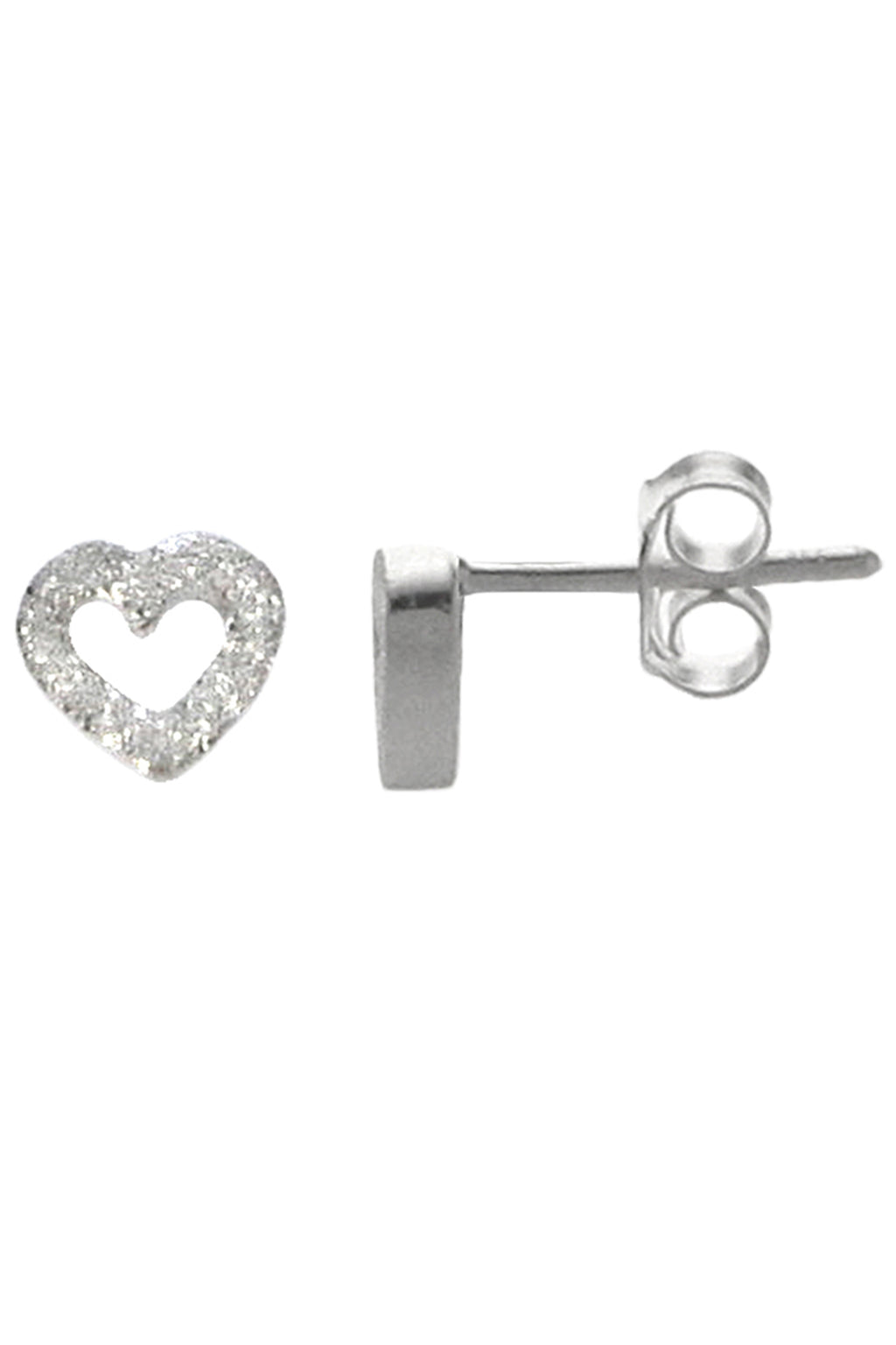 Brushed Silver Heart Stud Earrings / Nina B Jewellery