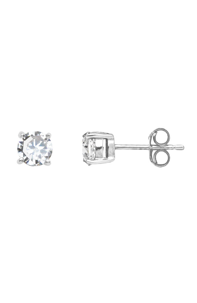 Silver Round Claw-set Stud Earrings in Precious Stones