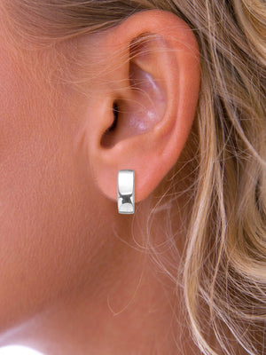 Silver Oblong stud earrings
