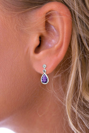 Silver Gemstone Raindrop Amethyst Drop Earrings