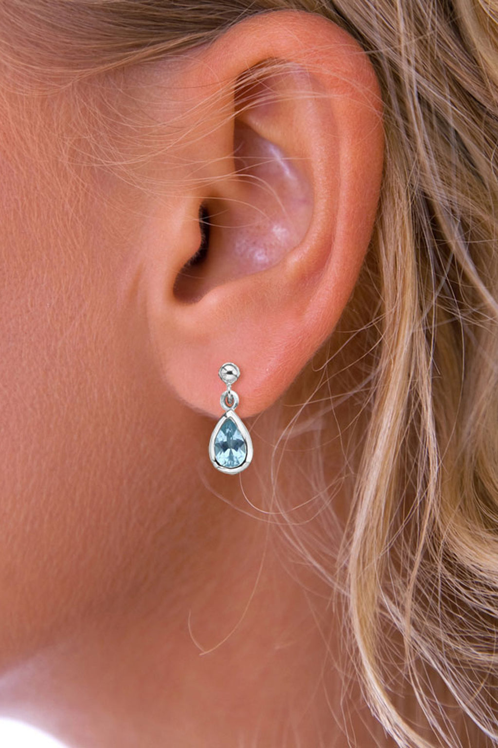 Silver Gemstone Raindrop Blue Topaz Drop Earrings