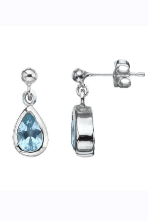 Silver Gemstone Raindrop Turquoise Earrings