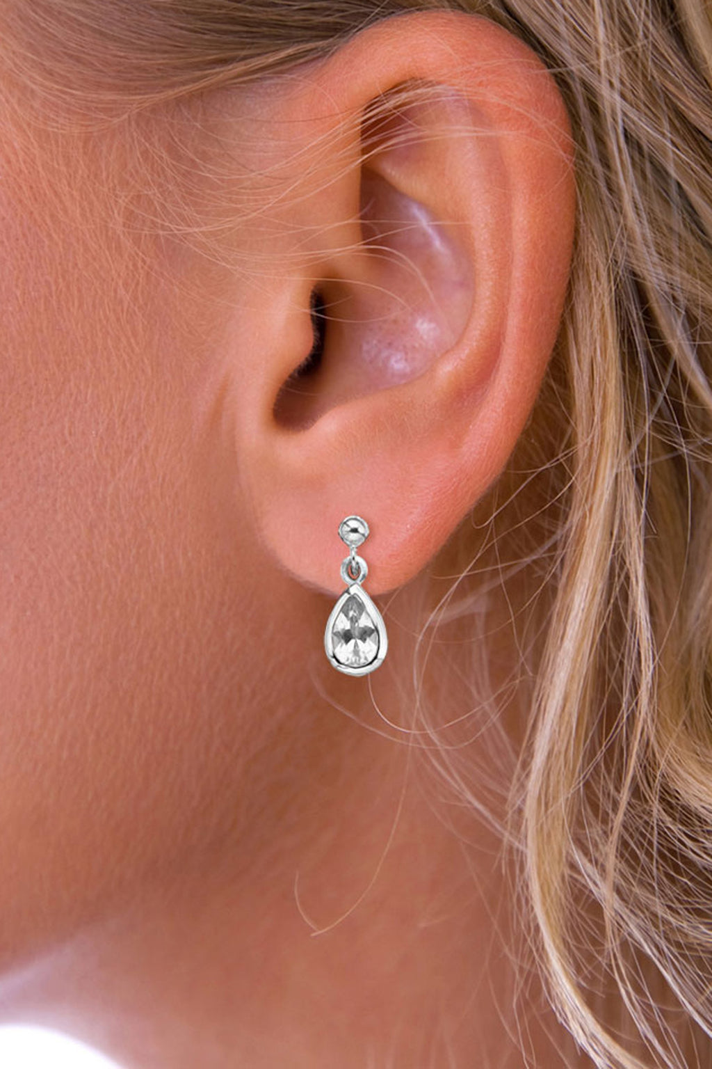 Silver Gemstone Raindrop CZ Drop Earrings