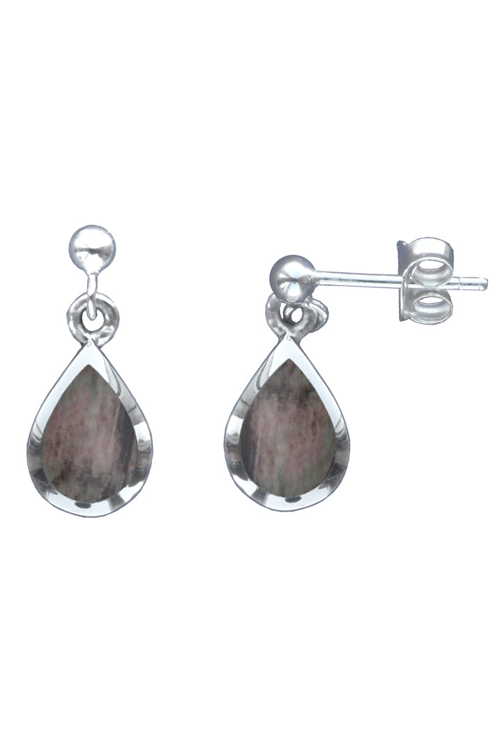 Silver Gemstone Raindrop Grey Mother of Pearl Drop Earrings