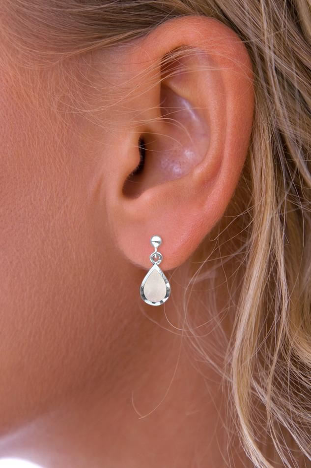 Silver Raindrop Mother of Pearl Earrings