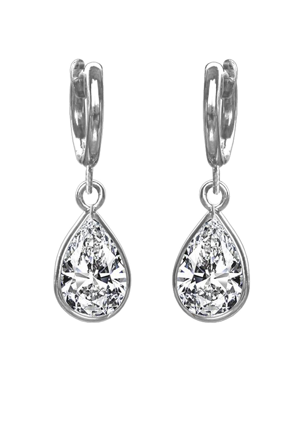 Silver Cubic Zirconia Pear Drop Earring