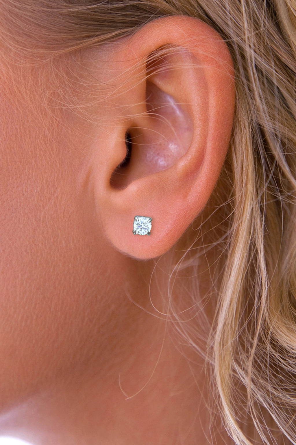 Cubic Zirconia Silver Stud Earrings