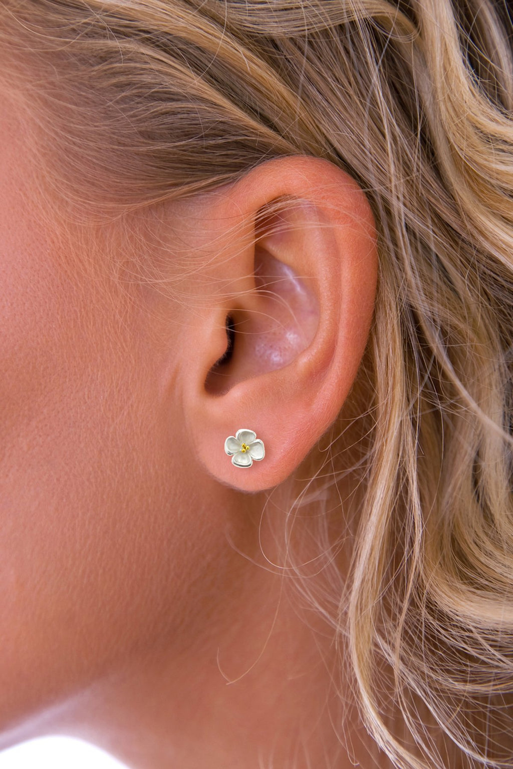 Four Petal Silver Flower Earrings