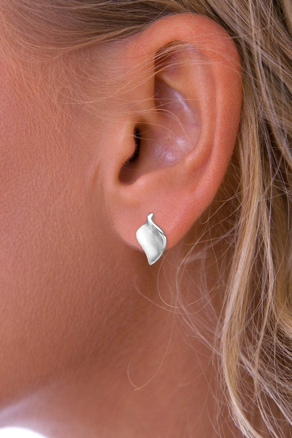 Brushed Silver Leaf Stud Earrings