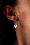 Silver brushed leaf earrings