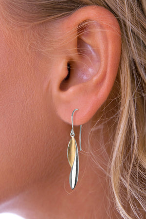 Silver Long Drop Earrings with Gold detail