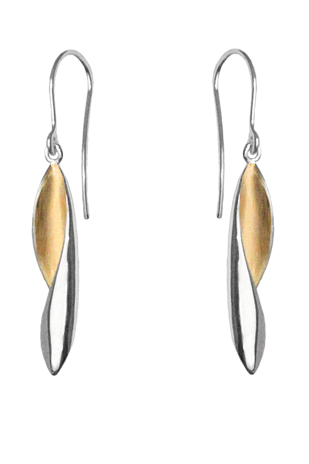 Silver Drop Earrings with Gold detail