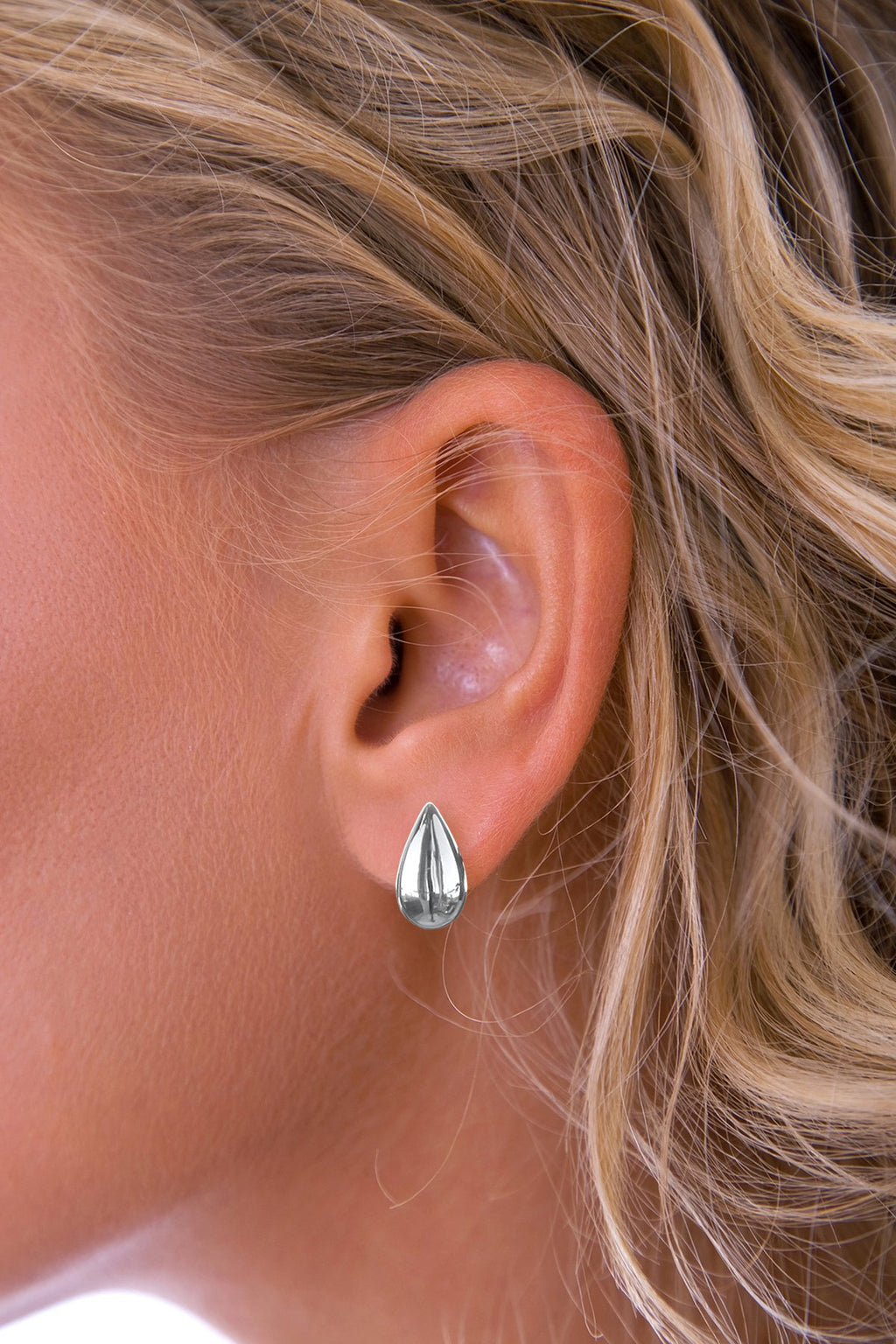 Silver Solid Teardrop Earrings