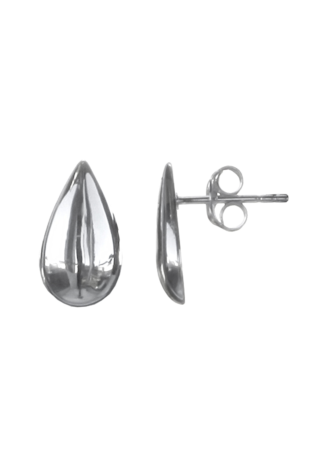 Silver Teardrop Stud Earrings / Nina B Jewellery