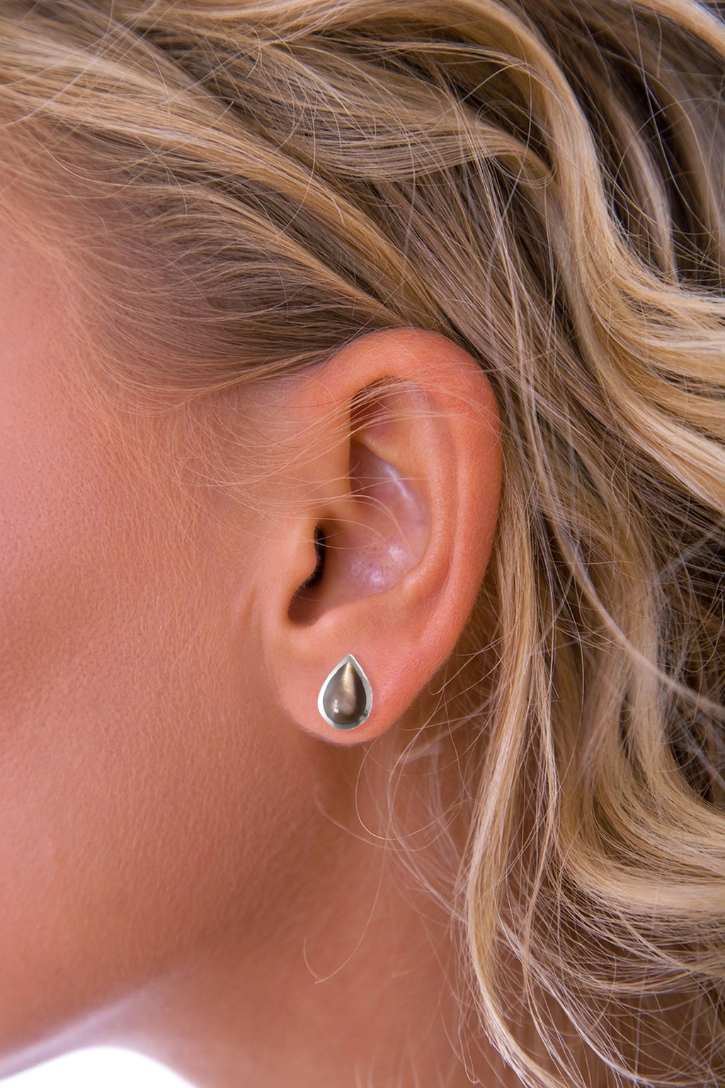 Grey Mother of Pearl Teardrop Silver Stud Earring