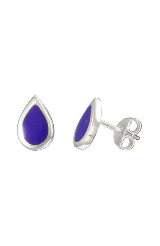 Lapis Lazuli Silver Stud Earrings / Nina B Jewellery