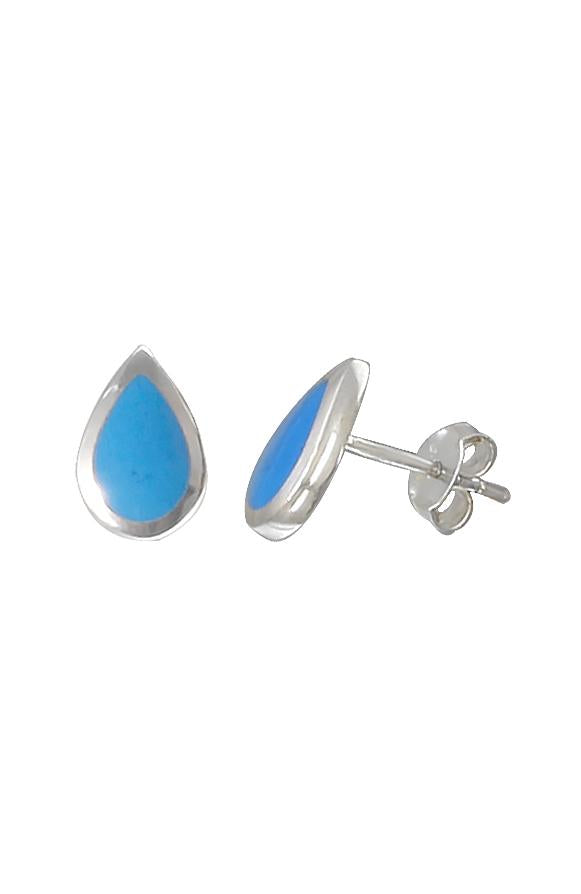 Turquoise Silver Stud Earrings / Nina B Jewellery