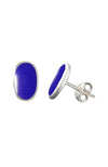 Silver Oval Blue Mother of Pearl Stud Earrings